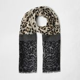 River Island Girls brown block animal print scarf