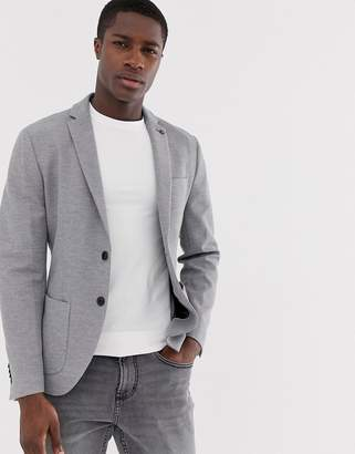 Selected slim jersey blazer with patch pockets in grey