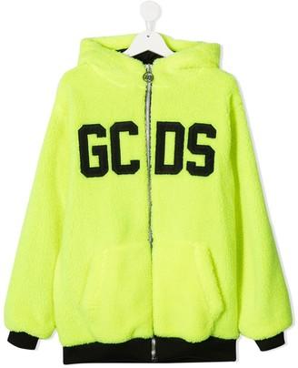 Gcds Kids TEEN logo zipped hoodie