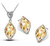 Fancy Jewelry Sets Gift Fancy Noble Austria Crystal Waterdrop Crystal Shaped Jewelry Set Women Luxury Necklace & Earring