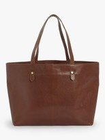 John Lewis & Partners Leather East/West Tote Bag, Tan