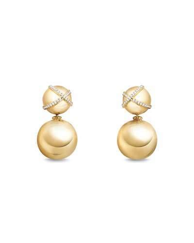 David Yurman 18mm Solari Two-Drop Earrings with Diamonds