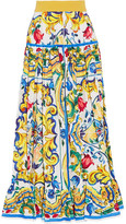 Dolce & Gabbana Pleated Printed Cotton-poplin Maxi Skirt - Yellow