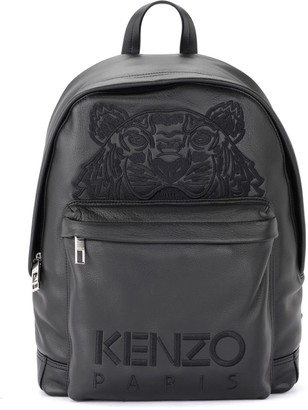Kenzo Kampus Tiger Backpack In Black Leather