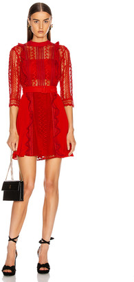Self-Portrait Geometric Lace Dress in Red | FWRD