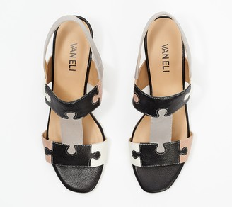 VANELi Leather Puzzle Piece Heeled Sandals - Channa