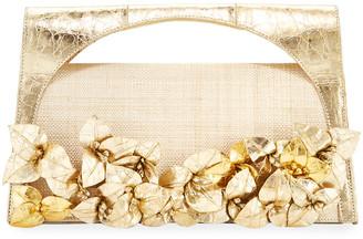 Nancy Gonzalez Sammy Floral Woven Straw & Crocodile Top-Handle Bag