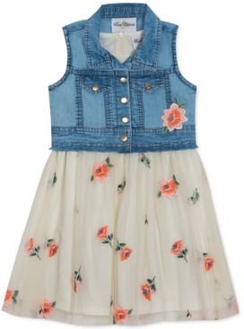 Rare Editions Toddler Girls 2-Pc. Denim Vest & Embroidered Floral Mesh Dress