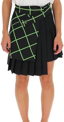 Off-White Multipanel Pleated Mini Skirt