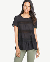 Ann Taylor Petite Tiered Lace Trim Tee