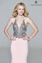 Faviana s7961 Long fit and flare with embroidered v-neck bodice