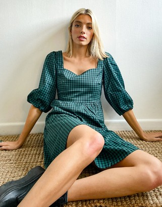 Glamorous tiered smock dress with tie back in green check