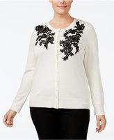 Charter Club Plus Size Lace-Appliqué Cardigan, Only at Macy's