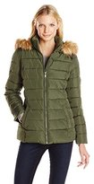 Tommy Hilfiger Women's Down Alternative Coat with Faux Fur Trim Hood