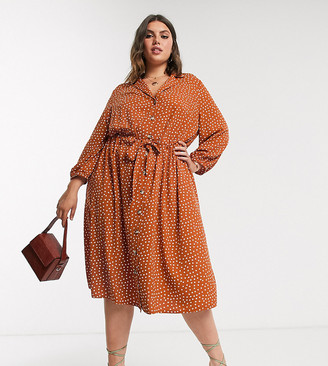 ASOS DESIGN Curve button through ruched waist midi dress in rust spot