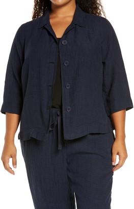 Eileen Fisher Microcheck Organic Cotton Shirt Jacket