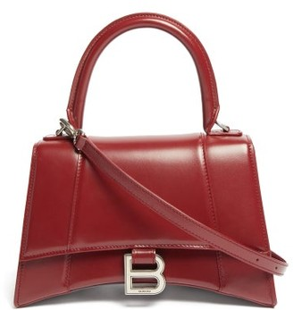 Balenciaga Hourglass Leather Top-handle Bag - Burgundy