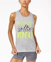 Material Girl Active Juniors' Slit-Back Graphic Tank Top, Only at Macy's