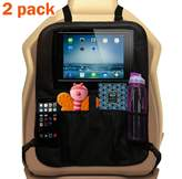 Ozziko Car Seat Organizer for Kids with iPad / Tablet Holder. Front Seat Kick Mat Protector W/ Pockets For Toys, Cups, Bottles. Attachable W/ Customized Straps. For Vehicles, Trucks, SUV & Minivans. 2 Pack