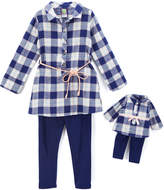 Dollie & Me Blue & White Plaid Top Set & Doll Outfit - Girls