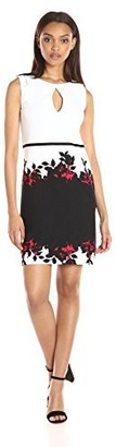 Gabby Skye Women's Elbow Sleeve Round Neck Midi Scuba Sheath Dress black/Red 4