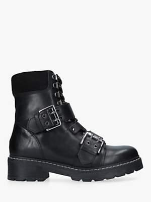 Carvela Saunter Buckle Ankle Boots, Black Leather