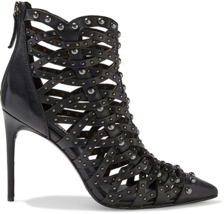 Alice + Olivia Reiy Studded Woven Leather Ankle Boots