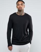 Asos Loungewear Relaxed Skater Long Sleeve T-shirt In Slub