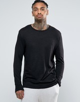 Asos Relaxed Skater Long Sleeve T-shirt In Slub