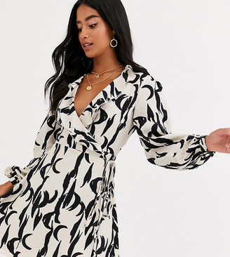 Glamorous Petite wrap dress in brushstroke print