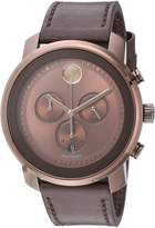 Movado Men's Swiss Quartz Stainless Steel and Leather Casual Watch, Color: (Model: 3600420)