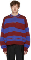 Raf Simons Red & Blue Disturbed Striped Sweater