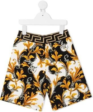Versace Greca-detail baroque-print shorts