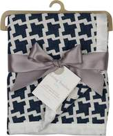 Living Textiles Muslin Jacquard Blanket, Navy Houndstooth