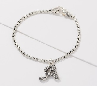 JAI Sterling Silver 2.7mm Box Chain Floral Initial Charm Bracelet