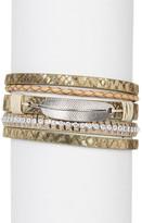 Saachi Feather Snakeskin-Embossed Genuine Leather Bracelet