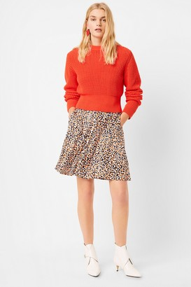 French Connenction Luna Mozart Waffle Knit Cropped Sweater