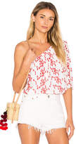 Velvet by Graham & Spencer Maya Eyelet Top in Red. - size L (also in M,S,XS)