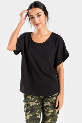 francesca's Maddie Cuff Sleeve Top - Black