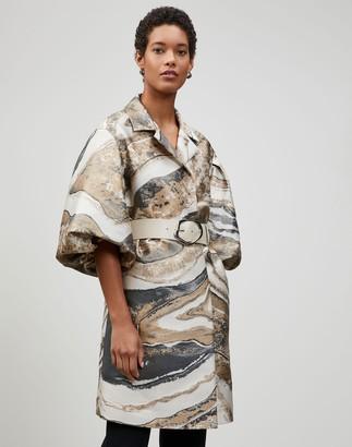 Lafayette 148 New York Plus-Size Italian Petra Jacquard Rosa Coat