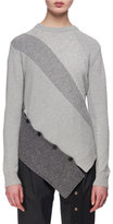 Proenza Schouler Paneled Wool-Cashmere Asymmetric Sweater, Gray