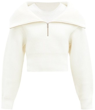 Jacquemus Risoul Half-zip Ribbed Wool Sweater - Cream