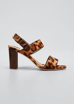 Manolo Blahnik Khansf Leopard-Print Fur Slingback Sandals