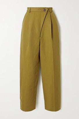 Mara Hoffman + Net Sustain Almeria Pleated Linen And Organic Cotton-blend Straight-leg Pants - Army green