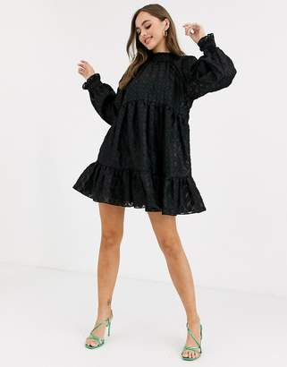Asos Design DESIGN high neck tiered mini smock dress in textured organza-Black