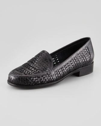 Sesto Meucci Woven Leather Slip-On Loafer, Black