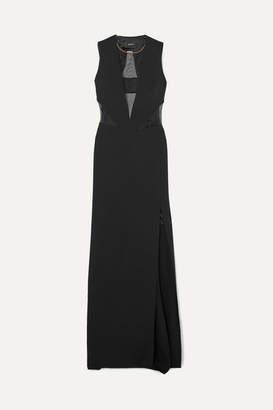 Akris Mesh-paneled Stretch-silk Crepe Gown - Black