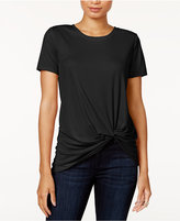 Bar III Short-Sleeve Tie-Front Top, Only at Macy's