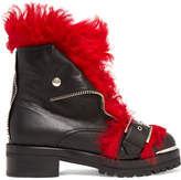 Alexander McQueen Shearling-trimmed Leather Ankle Boots - Black