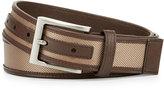 Neiman Marcus Leather-Trim Nylon Belt, Tan